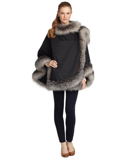 Crystal Fox Fur Trimmed Ruana
