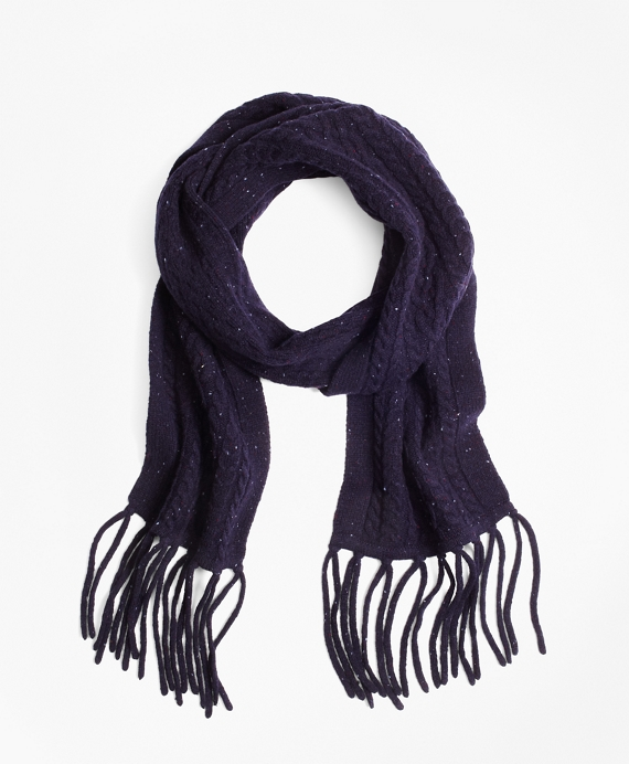 Saxxon™ Wool Cable Knit Scarf Navy