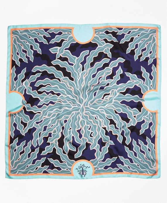 Palm-Tree-Print Silk Scarf Blue