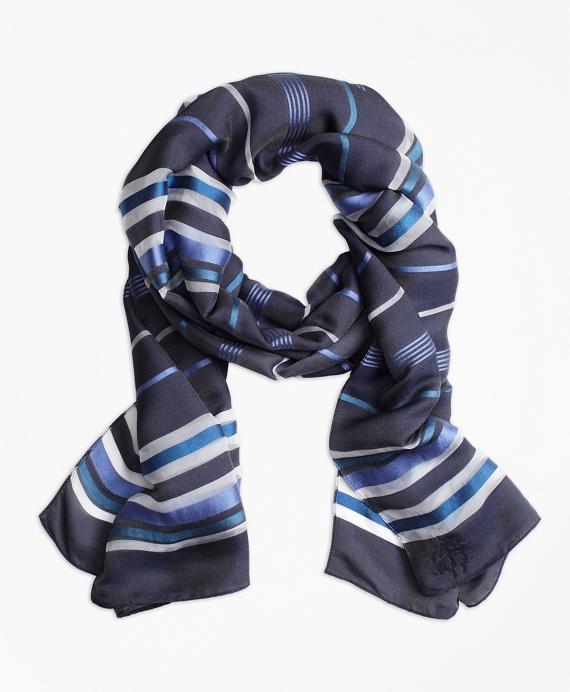 Striped Silk Scarf Navy