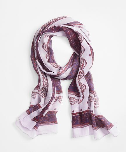 Ribbon-Print Silk Chiffon Oblong Scarf