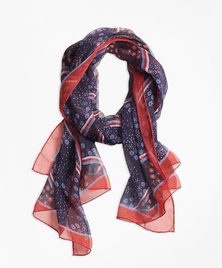 Floral-Print Silk Chiffon Oblong Scarf