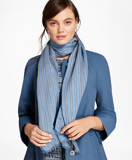 BB#1 Stripe Silk-Blend Oblong Scarf