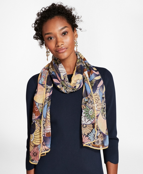 Kaleidoscope Floral-Print Silk Chiffon Oblong Scarf Yellow-Blue-Multi