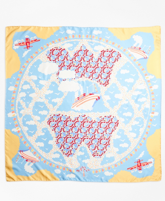 Hula-Dancer-Print Silk Square Scarf
