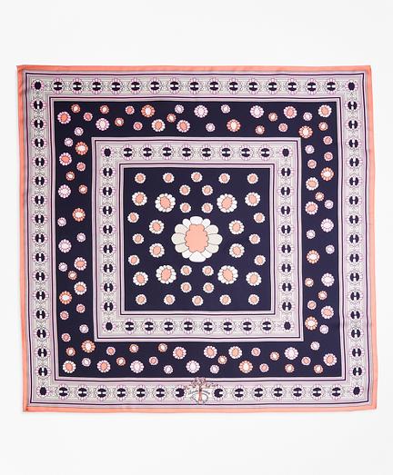 Daisy-Print Silk Square Scarf