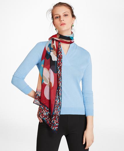 Stylized Figural-Print Silk Chiffon Oblong Scarf