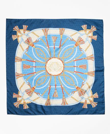 Tassel-Print Silk Square Scarf