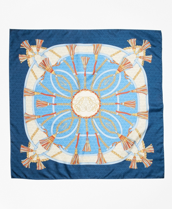 Tassel Print Silk Square Scarf by Brooks Brothers