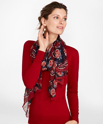 Rose-Print Silk Chiffon Oblong Scarf