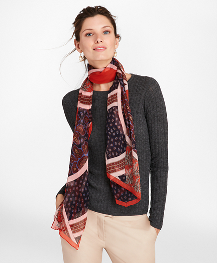 Mixed-Print Silk Chiffon Oblong Scarf