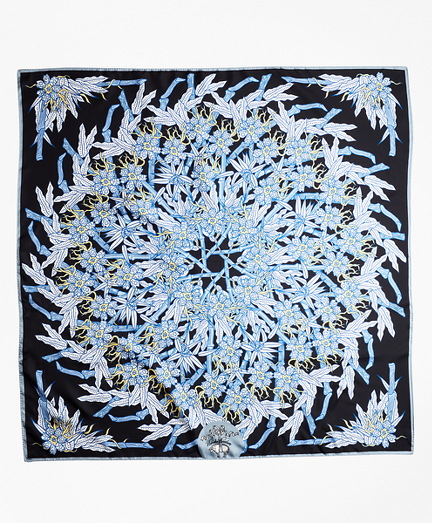 Bamboo-Print Silk Square Scarf