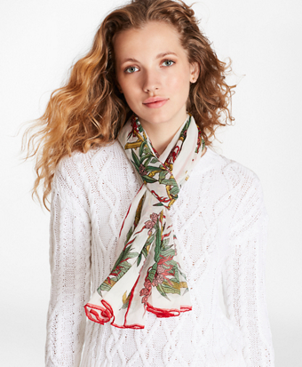 Bamboo-Print Silk Chiffon Oblong Scarf