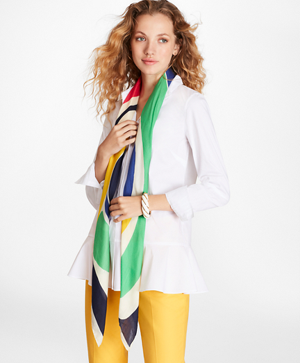 Abstract-Print Modal-Silk Square Scarf