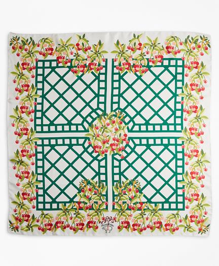 Cherry-Print Silk Square Scarf