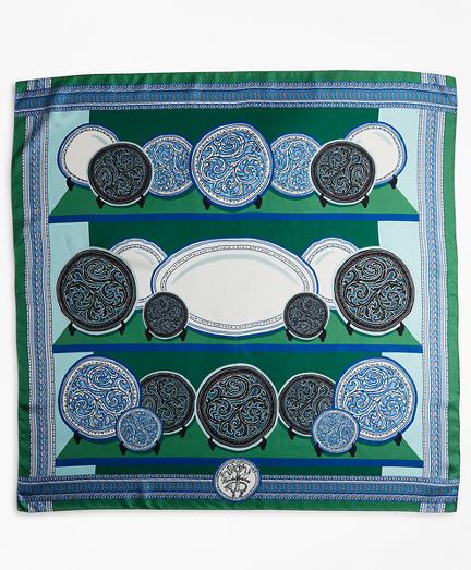 Porcelain-Print Silk Square Scarf