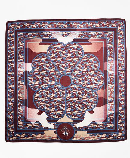 Deer-Print Silk Square Scarf