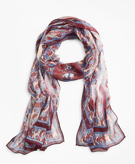 Deer-Print Silk Chiffon Oblong Scarf