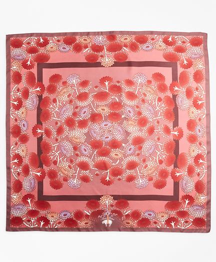 Floral-Print Silk Square Scarf