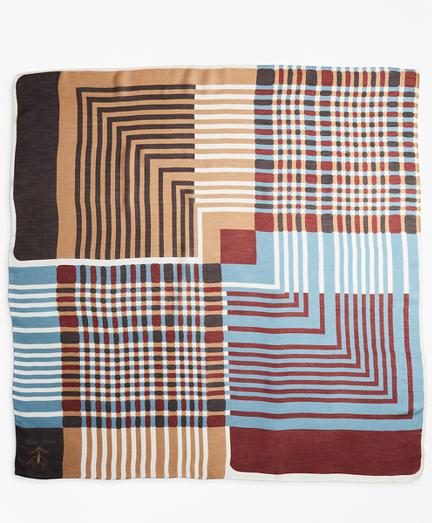Plaid and Striped Modal-Silk Square Scarf