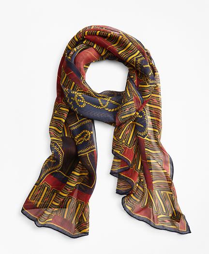 Knot-Print Silk Chiffon Oblong Scarf