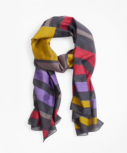 Striped Cotton-Silk Oblong Scarf