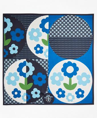 Floral Dot-Print Silk Square Scarf