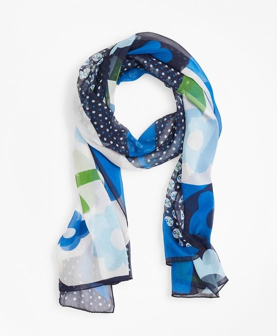 Floral Dot-Print Silk Chiffon Oblong Scarf Blue