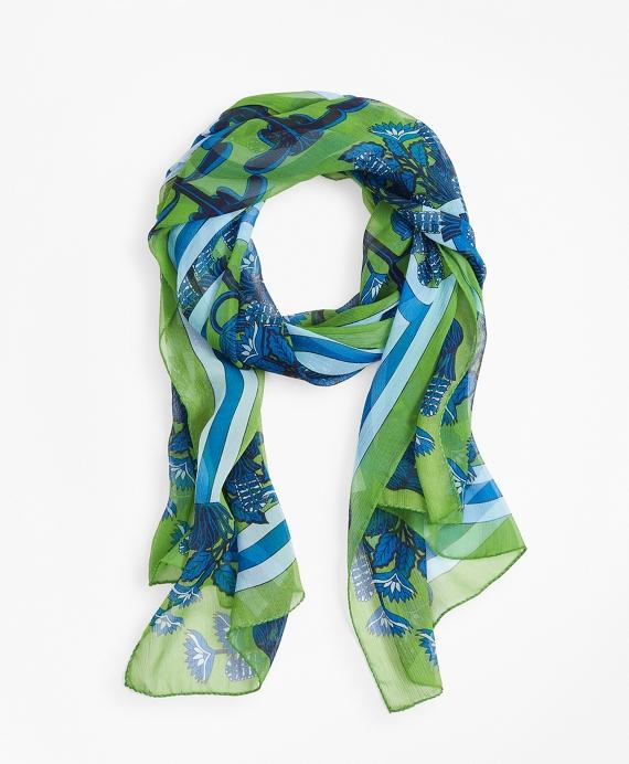 Floral-Print Silk Chiffon Oblong Scarf Navy