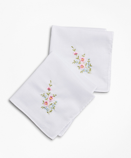 Floral-Embroidered Cotton Handkerchief - Set of 2