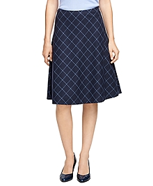 Wool Windowpane Circle Skirt