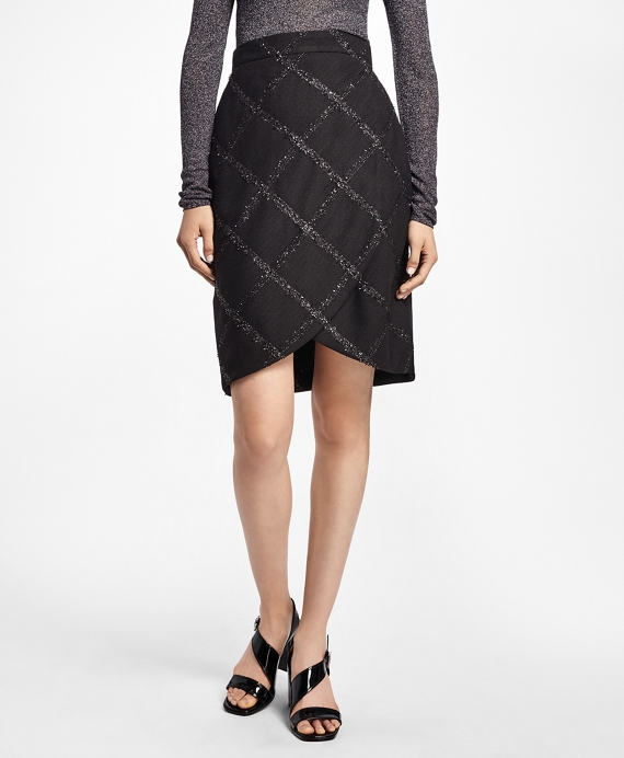 Windowpane Faux Wrap Skirt Black