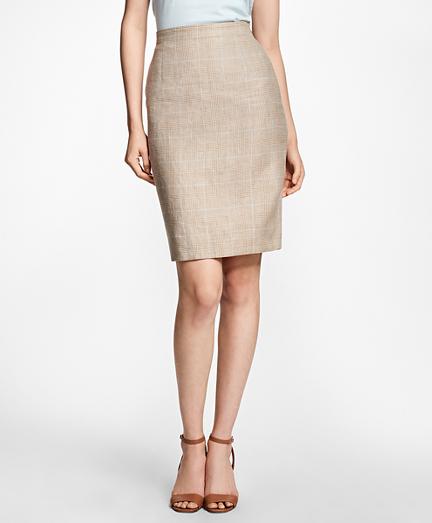 Plaid Wool-Linen Pencil Skirt