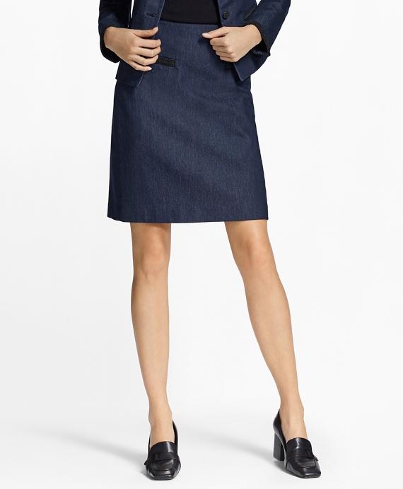 Soutache-Trimmed Denim Pencil Skirt Navy