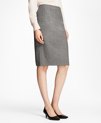 Sharkskin Stretch Wool Pencil Skirt