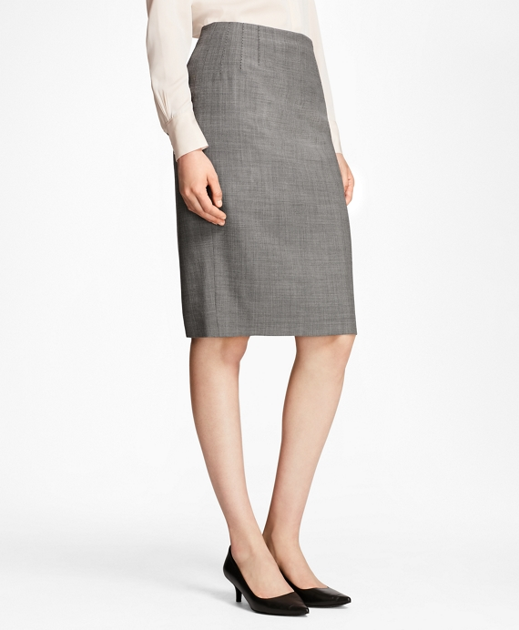 Sharkskin Stretch Wool Pencil Skirt Grey