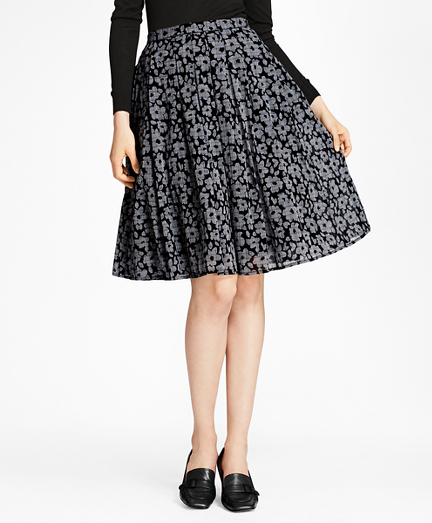 Floral-Print Glen Plaid Pleated Skirt