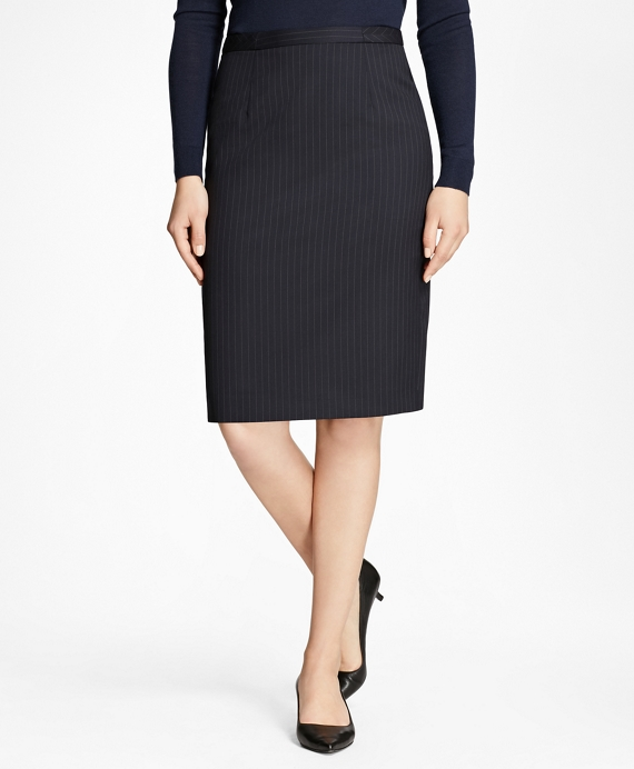 Pinstripe Stretch-Wool Pencil Skirt Navy