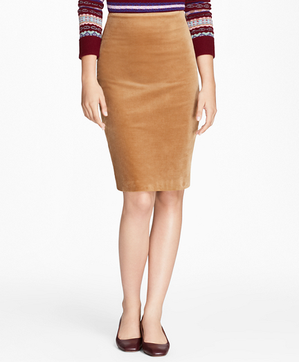 Stretch Cotton Corduroy Pencil Skirt