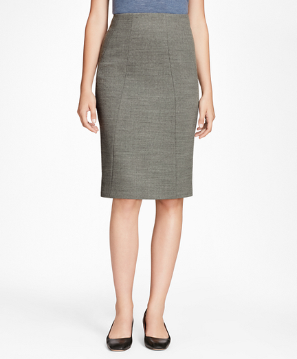 Double-Weave Stretch-Wool Pencil Skirt