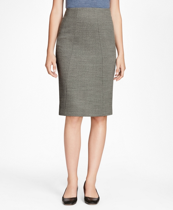 Double-Weave Stretch-Wool Pencil Skirt Grey