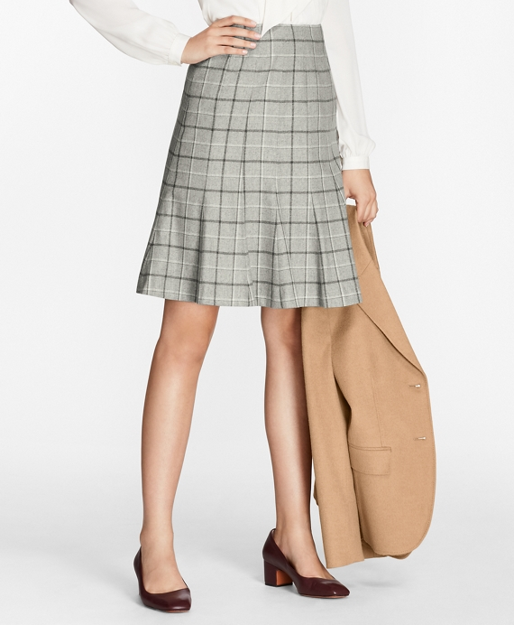 Windowpane Stretch-Wool-Cashmere Fluted Skirt Grey-Multi