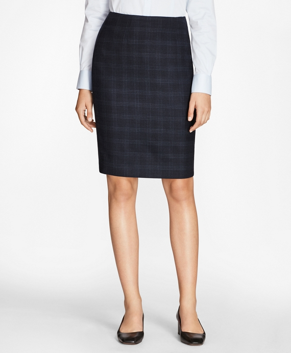 Plaid Stretch-Wool Pencil Skirt Navy