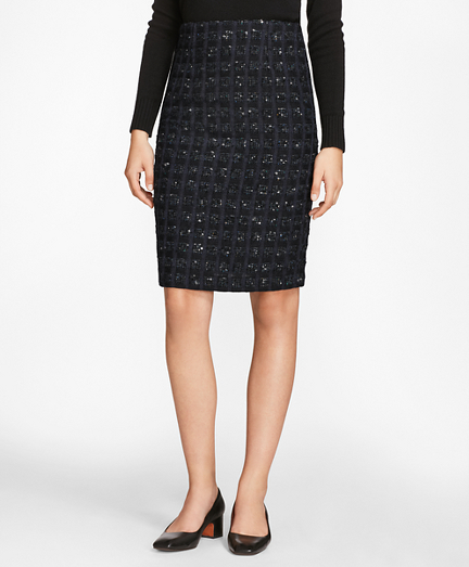 Checked Boucle Tweed Pencil Skirt