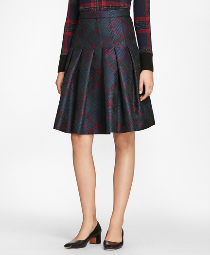 Tartan Sparkle Jacquard Pleated Skirt