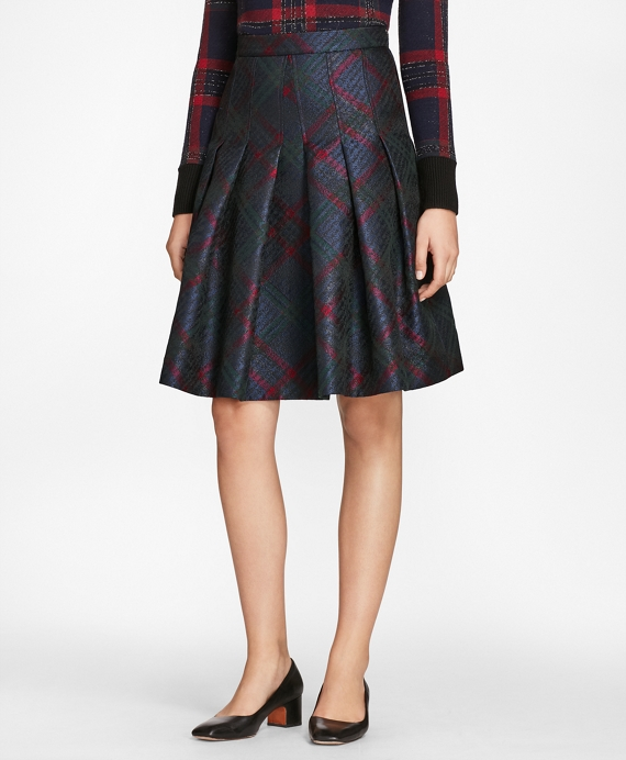 Tartan Sparkle Jacquard Pleated Skirt Navy-Multi