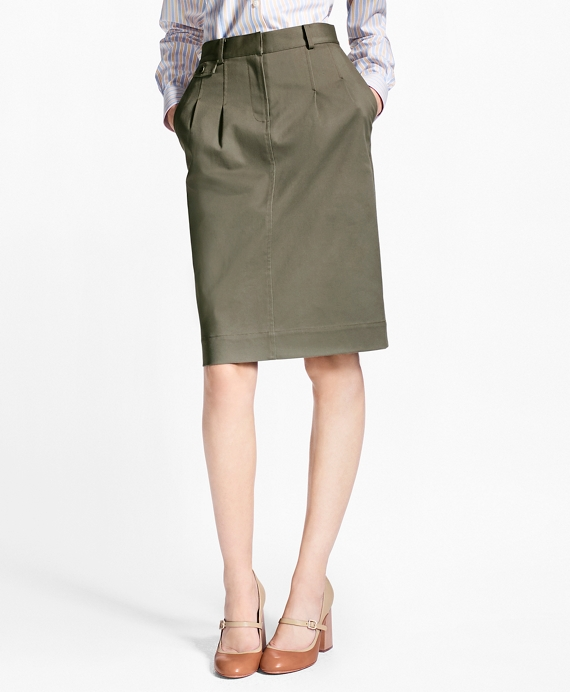 Stretch Cotton Twill Pencil Skirt Olive