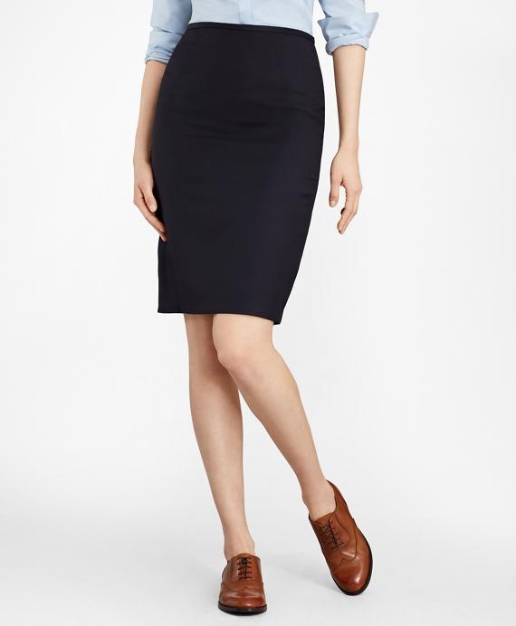 Wool Pencil Skirt Navy