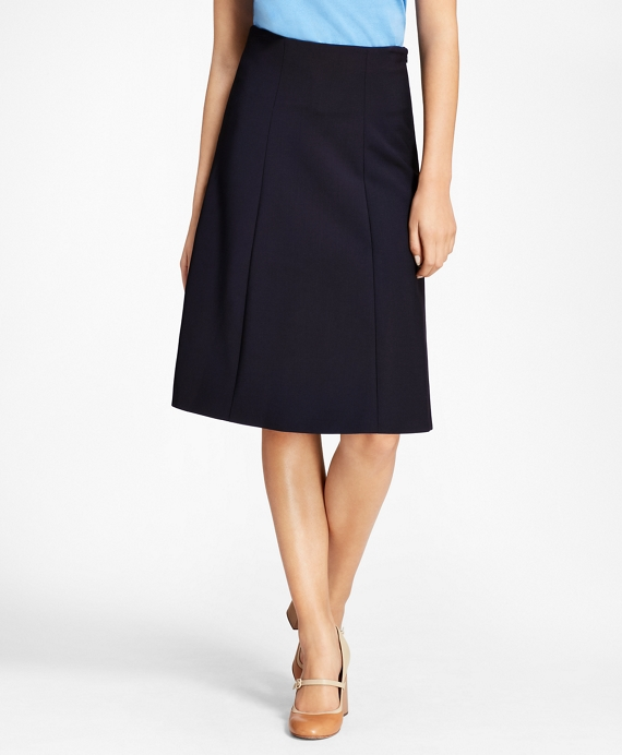 Stretch-Wool Double-Weave Skirt