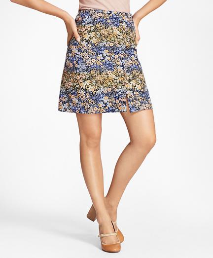 Floral Jacquard Faux-Wrap Skirt